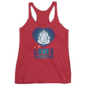 GANESH LOVES EVERYONE BLUE HEART Women's tank top