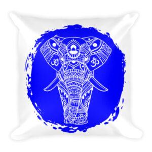 BLUE ELEPHANT GANESH Square Pillow