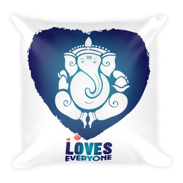 GANESH LOVES EVERYONE BLUE HEART Square Pillow